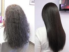 Результат выпрямления волос кератином
